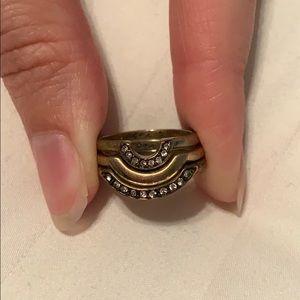 Boho, Crystal pave, half circle, stackable rings